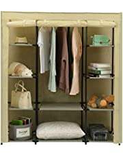 """Homebi Clothes Closet Portable Wardrobe Durable Clothes Storage Organizer Non-Woven Fabric Cloth Storage Shelf with Hanging Rod and 10 Shelves for Extra Storage, 59.05"""" W x 17.72"""" D x 65.4"""" H"""