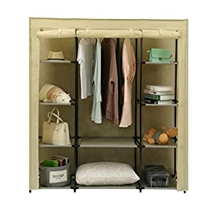 Homebi Clothes Closet Portable Wardrobe Durable Clothes Storage Organizer Non-Woven Fabric Cloth Storage Shelf with Hanging Rod and 10 Shelves for Extra Storage, 59.05″ W x 17.72″ D x 65.4″ H