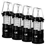 LE 4 Pack Portable LED Lantern Outdoor Collapsible 30 LEDs Battery Powered Water Resistant Camping Gear Equipment Flashlight Lante