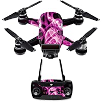 Skin for DJI Spark Mini Drone Combo - Pink Flames| MightySkins Protective, Durable, and Unique Vinyl Decal wrap cover | Easy To Apply, Remove, and Change Styles | Made in the USA