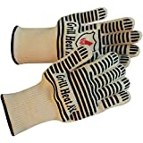 Extreme 932F Heat Resistant - Light-weight, Flexible Kitchen Gloves - 100% Cotton Lining for Super Comfort - Black Stripes for Ultimate Grip - Versatile Than Oven Mitt & Potholders, 2 Gloves