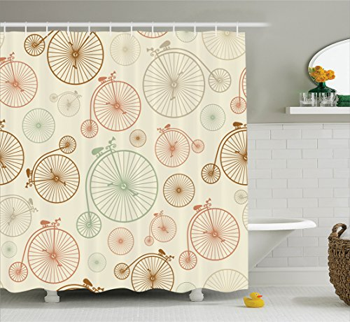 Ambesonne Vintage Decor Collection, Vintage Bicycles with Antique Wheels Indie Background Classic Decor Illustration, Polyester Fabric Bathroom Shower Curtain, 84 Inches Extra Long, Ecru Green - Indie Vintage
