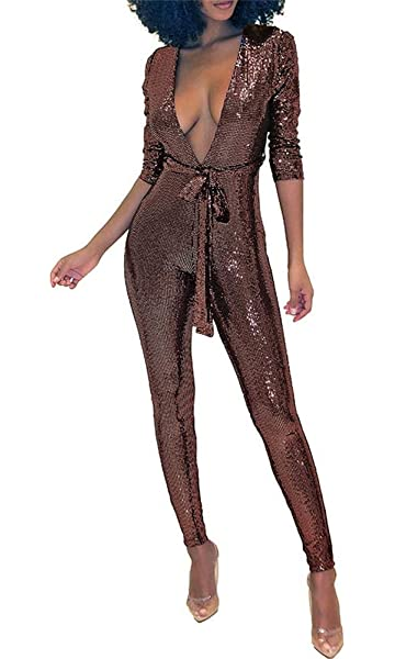 6cf3181a19d9 Misemiko Womens Glitter Deep V Neck One Piece Jumpsuit Romper Long Sleeve  Bodycon Playsuit with Belt