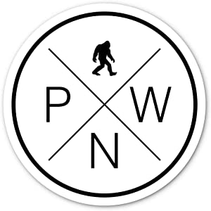 Crafted-Brand PNW Sticker - Easily Removable Vinyl Decal (3 Inch) - Adventure Awaits and Maybe Sasquatch Too in The Pacific Northwest