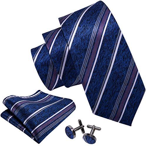 Barry.Wang Blue Ties Striped Silk Tie Set Hanky Cufflinks