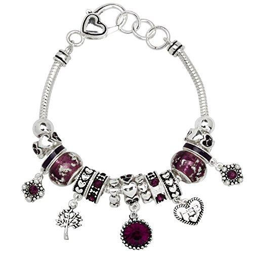 Falari Birthstone Bracelet Multi-Color Charm Beads Silvertone February OB07234-FEB