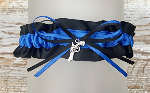 Sexy Black Royal Blue Police Satin Wedding Gun Charm Bridal Keepsake Wedding Garter