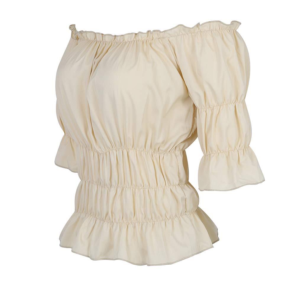Haorugut Women Renaissance Blouse Medieval Pirate Costume Tops Smocked Shirt