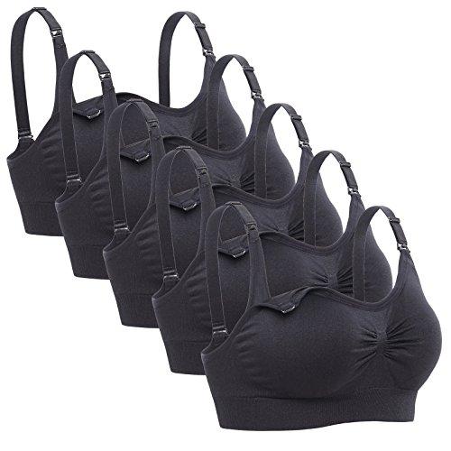Lataly Womens Sleeping Nursing Bra Wirefree Breastfeeding Maternity Bralette Pack of 5 Color Black Size 2XL