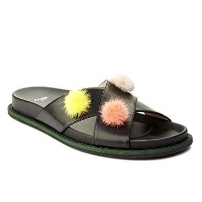 fba0404f1686 Image Unavailable. Image not available for. Color  Fendi Women s Leather  Pom-Pom Flat Sandal Shoes Black