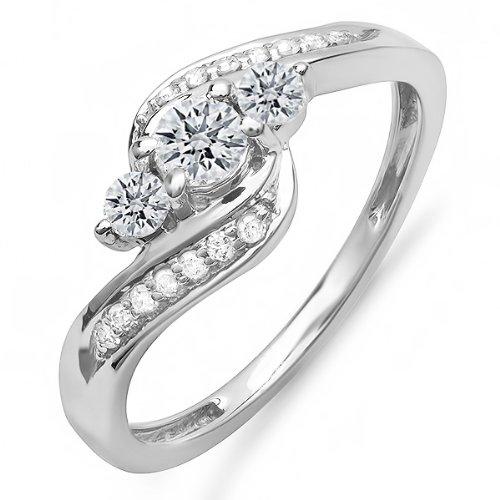 0.50 Carat (ctw) 10k Gold Round Diamond Ladies Swirl Engagement 3 Stone Bridal Ring 1/2 CT