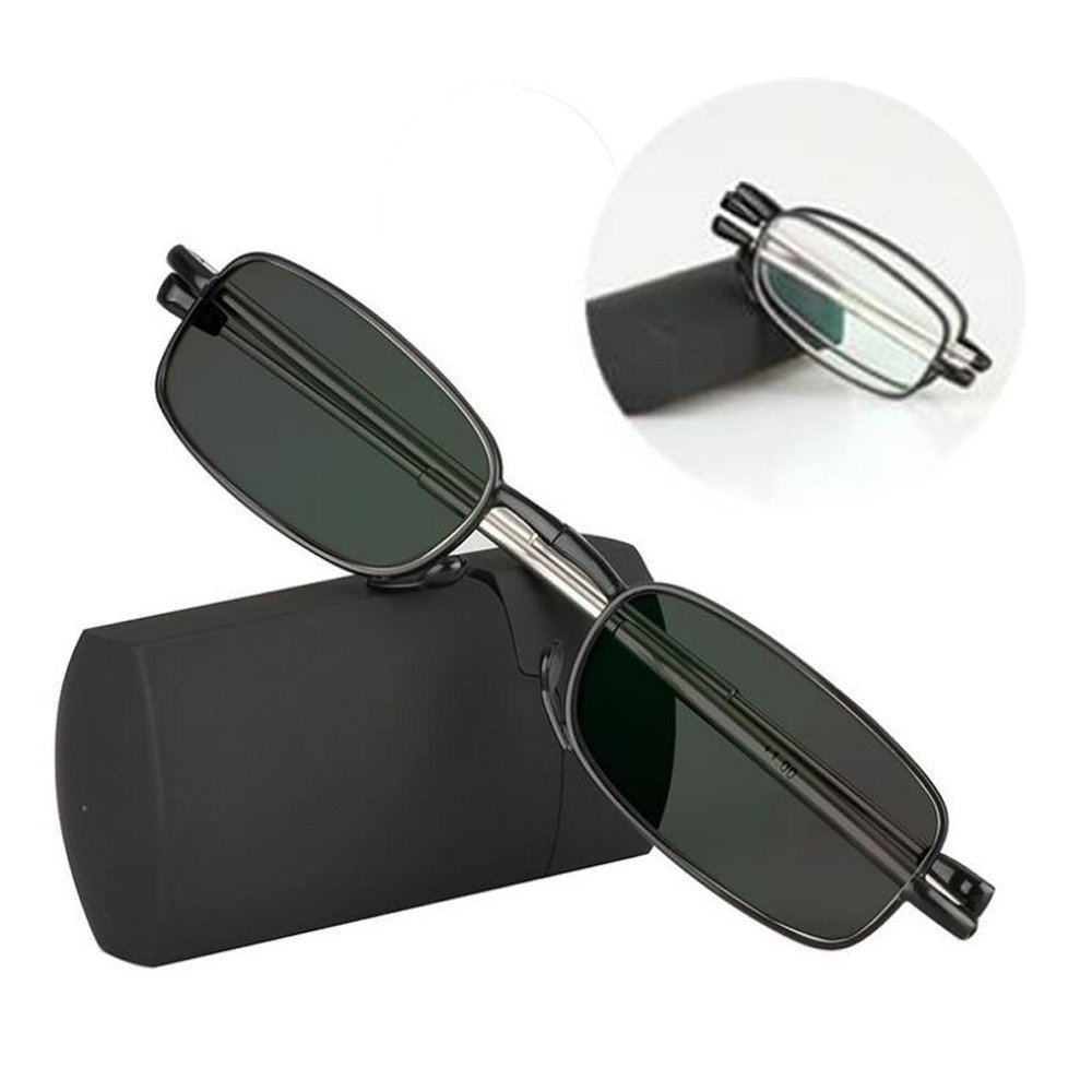 Transition Photochromic Folding Reading Glasses Mini Pocket Reader with Case Farsighted Foldable UV400 Sunglasses +1.0 to +3.0 (+2.00)