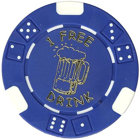 100 FREE DRINK POKER CHIPS TOKENS FOR RESTAURANTS OR BAR - BEER MUG by Spinettis