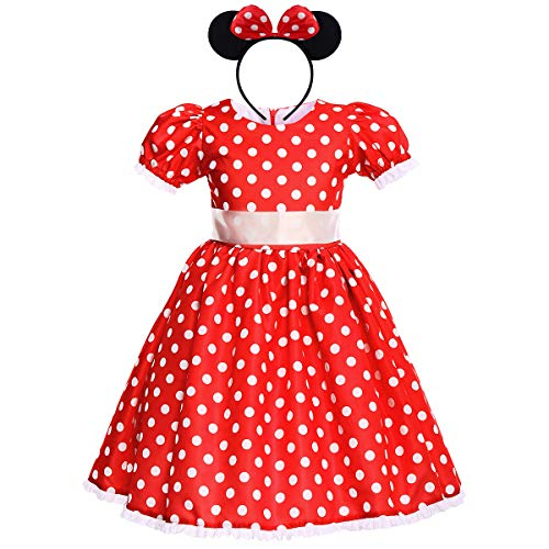Toddler Kid Girl Minnie Polka Dots Party Tutu Dress First Christening Recital Father Daughter Dance Formal Events Banquet Gala Party Celebration Princess 7-8 Years -