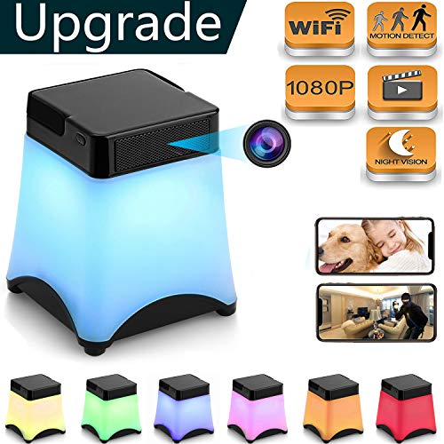 [Upgraded] Hidden Camera Wireless Spy Cameras Night Light WiFi Nanny Cam Lamp Home Security Cams Night Vision 1080p Baby Camera Pet Camera Live Stream Video via Android/iPhone APP