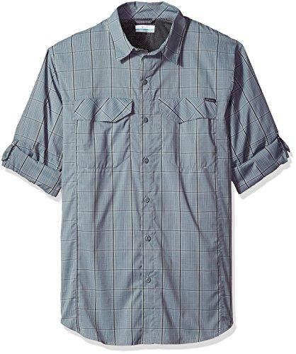 Columbia Mens Silver Ridge Lite Plaid Long Sleeve Top, X-Large, Grey Ash