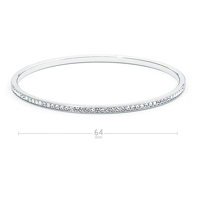 MYJS Ready Rose Gold Plated Magic Bangle Bracelet with Clear Swarovski Crystals h21Q1y