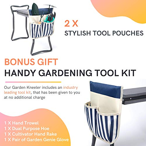LYKO\'s Portable Garden Kneeler and Seat+2 Tool Bag-Gardening Bench W/ Free Garden Accessories Outdoor Tools Kit-Comfy Eva Foam Padded Garden Stool Kneeling Chair