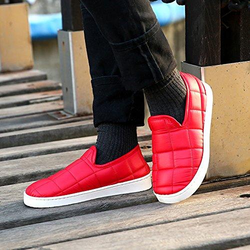 Uomini Laxba Un Rosso Donne Dell'interno Caldi Scarpe Cotone Felpa Pistone 37 Piccolo Pantofole Imbottito Antiscivolo Chine36 Inverno F5nnxU6
