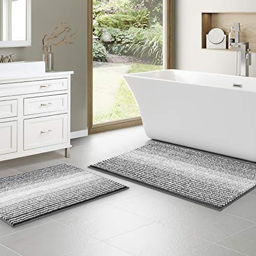 """Chenille Bathroom Rugs, Gradient Bath Mat Set of 2 (32"""" X 20"""" & 24"""" X 17""""), Non Slip Rugs, Super Soft and Water…"""