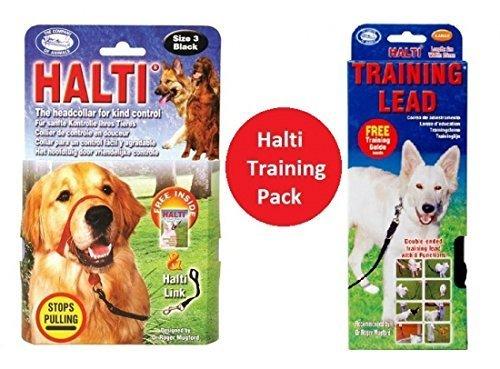 Halti Training Head (Halti Headcollar Black Size 3 + Training Lead Large Black)