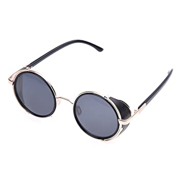 cb228ac730 Buy SODIAL Classic Vintage Sidestreet Steampunk Round Blinder Retro Eyewear  Sunglasses (Gold and Grey) Online at Low Prices in India - Amazon.in