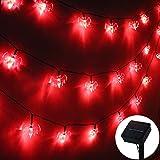 ZALALOVA Halloween Bat String Lights, 19.68ft Solar Powered 30 LED Waterproof Halloween Solar Decoration Lights, 8 Modes for Indoor/Outdoor Halloween Party Christmas Garden Yard Fence Decor