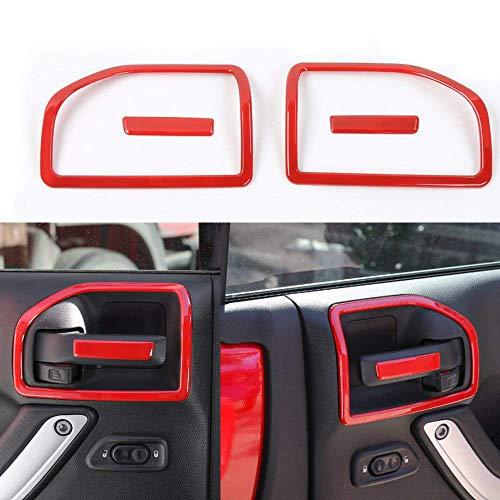 4 PCS Interior Decoration Trim Kit,Interior Door Handle Cover Trim For Jeep Wrangler 2011-2018 2-door (RED) (RED)