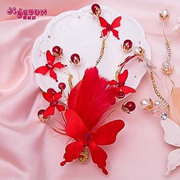 Bride boda Prom horquillas tocado Pinzas para niños accesorios para el pelo rojo tocado niñas Feather Hair Clips Secador de Accesorios artesanales Princesa ...