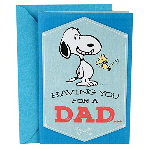 "Hallmark Peanuts Greeting Card for Dad (Snoopy & Woodstock), Plays ""Linus and Lucy"" by Vince Guaraldi (699FEO7472)"