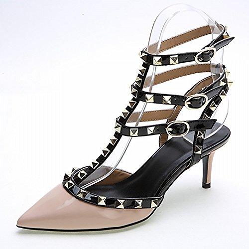 B Hauts 3 Rivet Unie De Femmes Cuir Verni La Talons Femmes Hh Des À Couleur Chaussures Avec En Occidental Les Un Pointy Mode 8w0qTPBn
