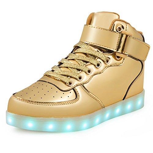 Saguaro Hoge Top Led Oplichten Schoenen Usb Opladen Mode Sneakers Voor Jongens Meisjes (peuter, Kleine Kinderen) 5-gouden Hoge Top