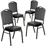Flash Furniture 4 Pk. HERCULES Series Crown Back Stacking Banquet Chair in Black