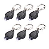 6 Pack Mini LED Flashlight Keychain Ultra Bright Key Ring Light Torch with Hook (Black)