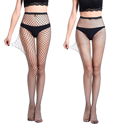 Eleray Women's High Waisted Fishnet Tights Sexy Wide Mesh Fishnet Stockings (Black(Small+Middle Hole)-2 Pack)