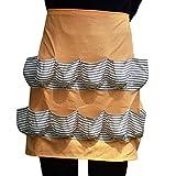 Chicken Egg Apron Bib Kitchen Workwear Waist Tool Aprons Cotton Eggs Gathering Collecting Utlity Work Shop Aprons Multi-Use Garden Apron with 12 Pockets for Women Girls WQ06 (Orange stripe)