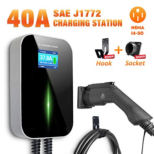 BESENERGY EV Charging Station 40 Amp Level 2 Electric Vehicle Charger EVSE 9.6kw Compatible with All SAE J1772 EV Cars