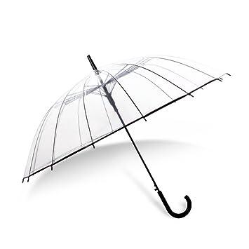 ZHDC® Paraguas transparentes, Automático Long Handle Comercio Mujeres Hombres Windproof Rain Student Sombrilla sombrilla