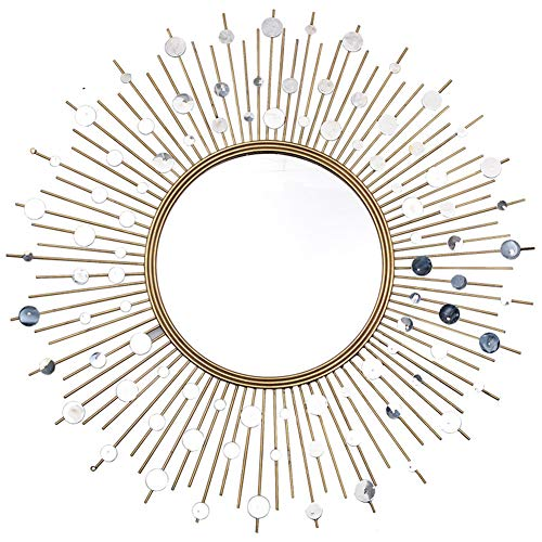 39' Tall Wall Mirror - Z-jingzi Fancy Decorative Starburst Mirror,Metal Wall Hanging Mirror in Sunburst Shape Home Decoration Corridor Ornament Bathroom Mirrors,Living Room Wall Mirror, Kitchen Wall Mirror