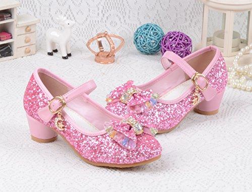 EOZY Kinder Mädchen Glitzer Ballerinas Prinzessin Schuhe mit Schleife Festliche Schuhe für Party Hochzeit Pink