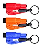 RESQME RQMY01, RQMBK01, RQMRB01 3-Piece The Original Keychain Car Escape Tool Kit (Red, Orange and Blue)