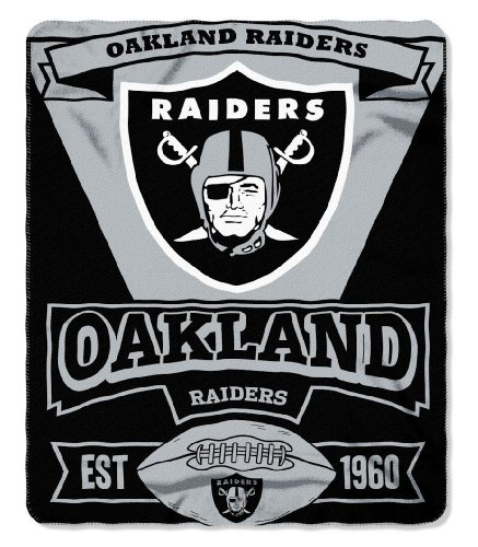 Nfl Raiders Fleece Oakland Blanket - The Northwest Company NFL Oakland Raiders Marque Printed Fleece Throw, 50-inch by 60-inch, Black