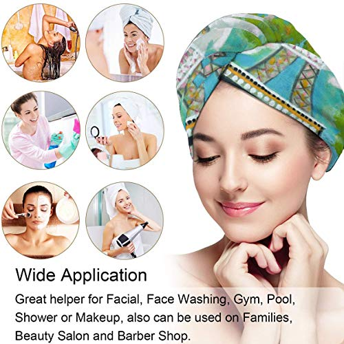 Microfiber Hair Towel Turban Wrap For Women,Eiffel Tower Painting Shower Cap With Button Anti Frizz Absorbent Bed Head Eiffel Tower