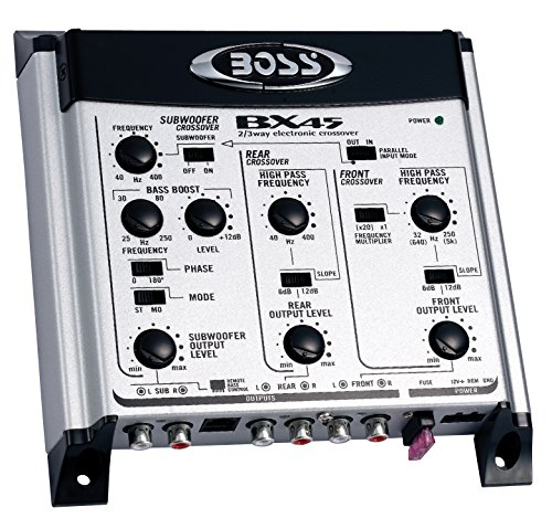 Boss Audio Bx45 2/3 Way Pre-amp Car Electronic Crossover Remote Subwoofer Control Variable High Pass Filter 40 Hz – 8 Khz Selectable Crossover Slopes, Selectable Phase Maximum Input Voltage 4.5 Volts
