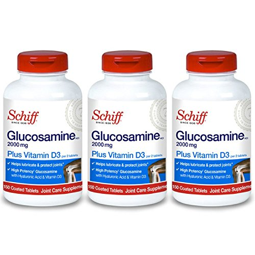 - Schiff Glucosamine 2000mg with Vitamin D3 and Hyaluronic Acid Joint Supplement, 150 ct (Pack of 3)