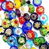 Millefiori Glass Beads Coins 10mm Rainbow Mix 35pc Single Flowers