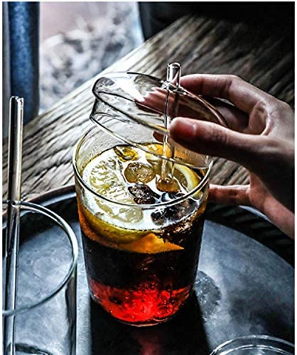 Vaso de vidrio con tapa con pajita creativo bebedero casero ...
