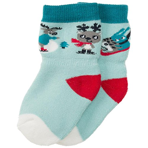 POLARN O. PYRET WINTER PALS TERRY SOCKS (NEWBORN) - 0-1 month/Pastel Turquoise - Pastel Pals