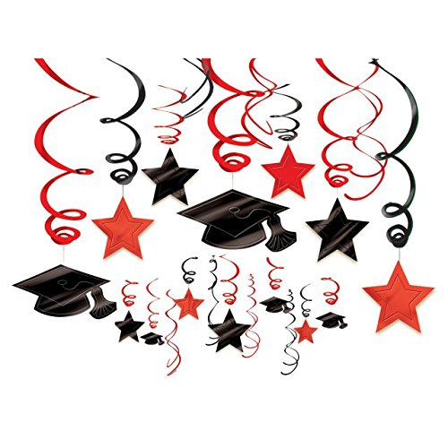 Amscan School Colors Graduation Party Swirls With Mortarboards (30 Piece), Apple Red/Black, One (Halloween Display Board Ideas)