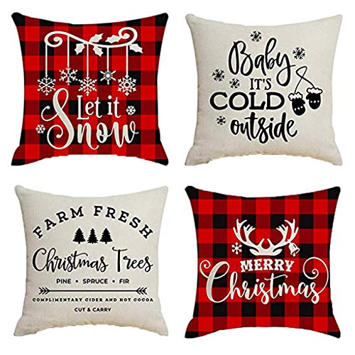 Seaintheson Set of 4 Plaid Throw Pillow Covers, Cotton Linen Autumn Christmas Décor Farmhouse Pillow Case Cushion Cover Square for Sofa Couch 18